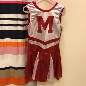 Girls Red M Cheerleading Dance Outfit Costume
